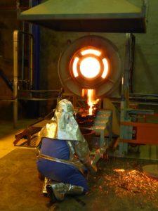 Aureus Mining's first gold pour at New Liberty