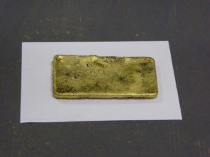 The gold bar produced at New Liberty