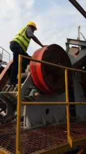 A PE 600 x 900 jaw crusher undergoing a routine inspection in the town of Kadoma, Zimbabwe