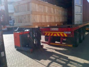 Container loaded with equipment on its way to Morocco