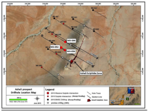 Nevsun - Asheli prospect drill hole location map