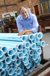 Renier Snyman, technical and product manager at DPI Plastics, with Mineflo pipes