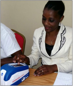 Training session on Fio's intelligent diagnostic devices for staff from the Health Ministry in Lubumbashi