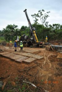 Drilling on site at Tongo