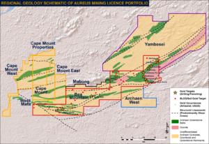 The Aureus Mining portfolio, including its new licence areas in Liberia