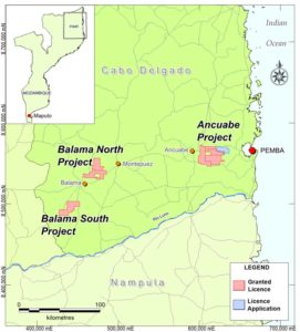 Overview of Triton Minerals' graphite project licences in in the Cabo Delgado Province of northern Mozambique