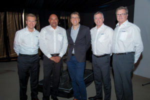 Senior management from ExxonMobil and Centlube. From L to R: Gerald De Causemaeker from ExxonMobil, Clint Nickall of Centlube and Paul Mansour from enX Group, Lawrence Kearns and Vincent Cartier from ExxonMobil