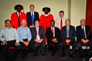 Standing left to right: Gafar Oniyide, Markus Mathey, Victor Akinbinu, Dr Bekir Genc Seated left to right: (left to right) Dr Halil Yilmaz, Prof Emeritus Dick Stacey, Prof Emeritus Huw Phillips, Prof Cuthbert Musingwini (Head of School), Kenneth Rhodes, Prof Fred Cawood