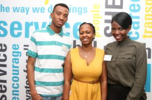 Atlas Copco shares expertise with WITS Student _Kgothatso Ntsie (centre) with Steven Valoi and Siphiwe Nkosi