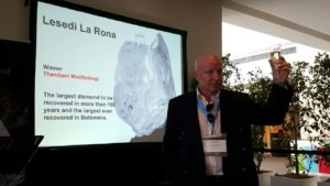 Lucara Diamond Corp COO Paul Day at the Lesedi La Rona diamond naming event at the Investing in African Mining Indaba