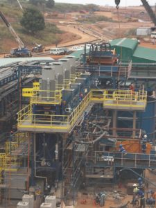 Four VXP2500 mills are used at Rand Gold Resources Kibali mine to regrind refractory gold concentrate