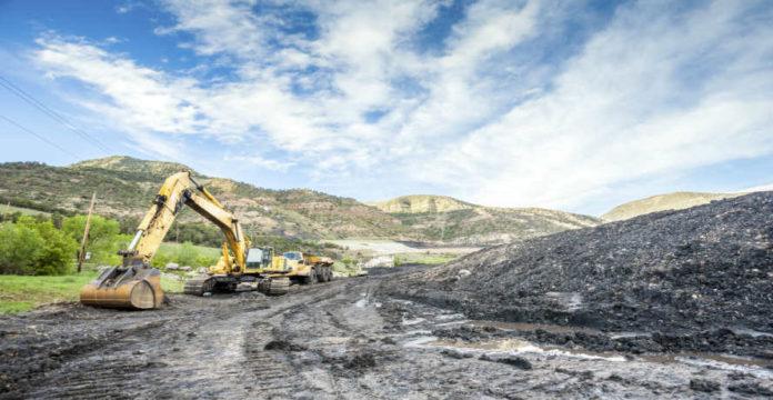 Mining truck on gravel road